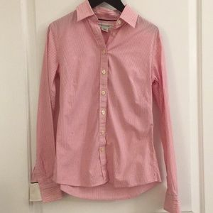 {Banana Republic} Pink White Striped Buttoned 00P
